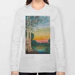 Daybreak at the Pond's Edge by Ainé Daveéd Long Sleeve T-shirt