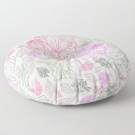 Assorted leaves and flowers neon colors Edit Floor Pillow
