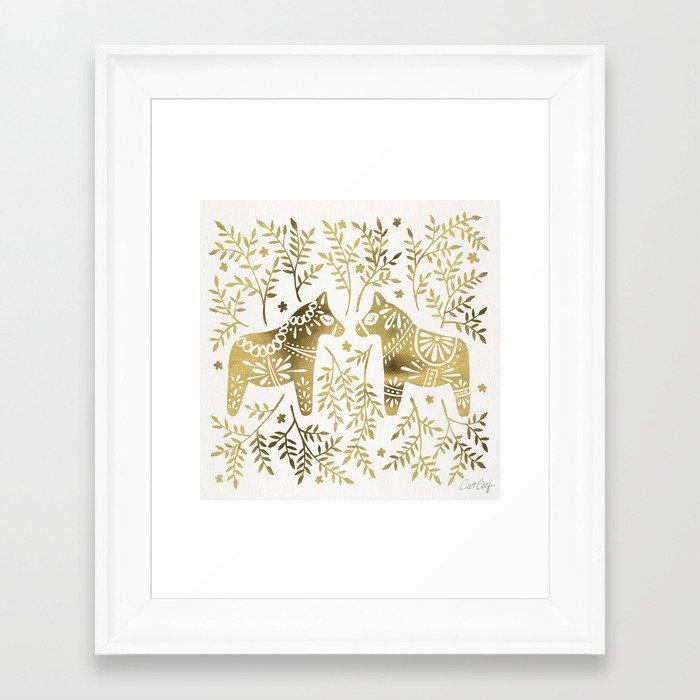 Swedish Dala Horses – Gold Palette Framed Art Print