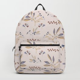 Pink Natural Leaf Berry Branch Vector Pattern, Backpack