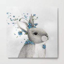 blue bunny print Metal Print