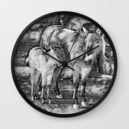 AnimalArtBW_Horse_20170801_by_JAMColorsSpecial Wall Clock