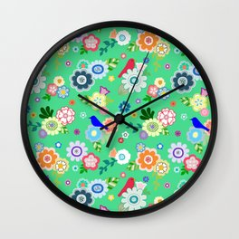 Whimsical Flowers & Birds in Green Wall Clock
