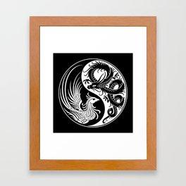 White and Black Dragon Phoenix Yin Yang Framed Art Print