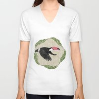 toucan V-neck T-shirts featuring Toucan by Aquamarine Studio