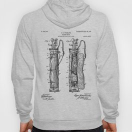 Golf Bag Patent - Caddy Art - Black And White Hoody