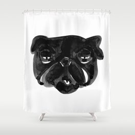 Black and white Pug Dog modern Shower Curtain
