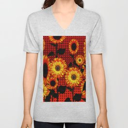 GRAPHIC DARK SUNFLOWERS ON RED COLOR PATTERN Unisex V-Neck