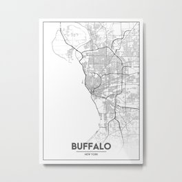 Minimal City Maps - Map Of Buffalo, New York, United States Metal Print