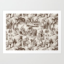 Alice in Wonderland | Toile de Jouy | Brown and Beige Art Print