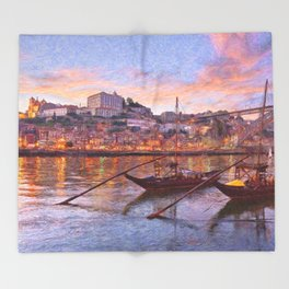 Porto at dusk Throw Blanket