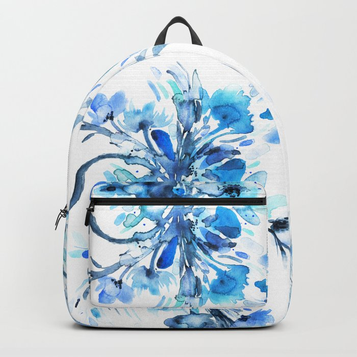 Blue Watercolor Floral 2 Backpack