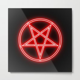 Bright Neon Red Pentagram Star Metal Print