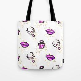 Purple lips with perfume Tote Bag