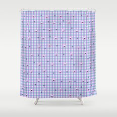 Gingham flowers Shower Curtain