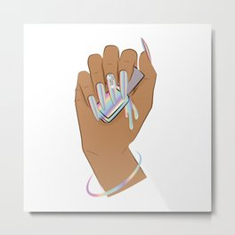 Hand with holographic long nails holds nail polish Metal Print