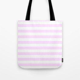 Narrow Horizontal Stripes - White and Pastel Violet Tote Bag