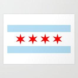 Chicago City Flag Windy City Standard Art Print