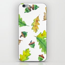 Foliage watercolor pattern oak leaves and acorns iPhone Skin