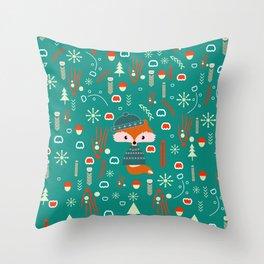 Cute fox waiting for Christmas Throw Pillow
