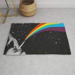Rainbow Girl - Smoking Girl in Cosmos - Pride - Surreal Digital Collage Artwork Rug