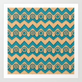 Chevrons and Sprockets - Blue-Green and Gold Repeating Pattern Art Print