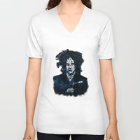 jack white V-neck T-shirts featuring Typo-songs Jack White by Daniac Design