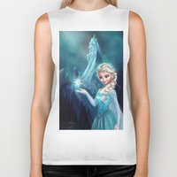 frozen elsa Biker Tanks featuring Elsa Frozen by This Is Niniel Illustrator