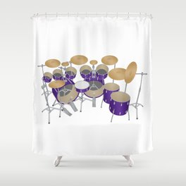 Purple Drum Kit Shower Curtain
