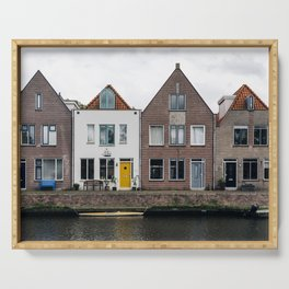 Row houses and Canal in The Netherlands Serving Tray
