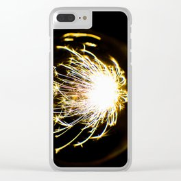 Yellow Glitter Firework In Sphere Clear iPhone Case