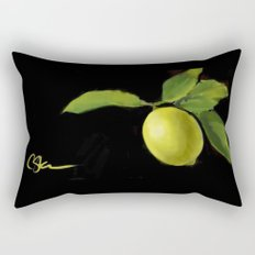 Lemon on Black DP150415a Rectangular Pillow