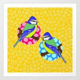 Blue Tits on Mustard Yellow Floral Background Art Print