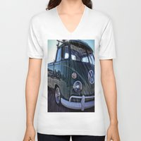 vw V-neck T-shirts featuring vintage vw by Joedunnz