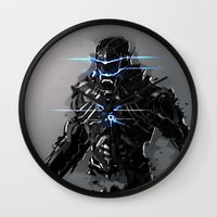 suit Wall Clocks featuring Raven Suit by Benedick Bana