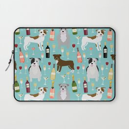 Pitbull wine champagne dog breed pet portrait pet friendly gifts for dog lovers Laptop Sleeve