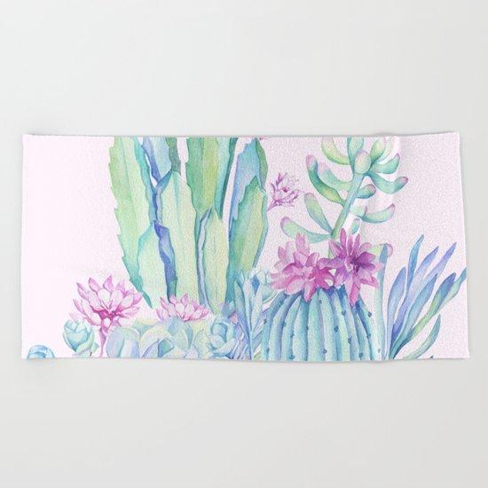 Mixed Cacti Pink #society6 #buyart Beach Towel