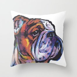 Fun English Bulldog Dog Portrait bright colorful Pop Art Painting by LEA Throw Pillow