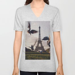 Birds by the Eiffel Tower (Color) Unisex V-Neck