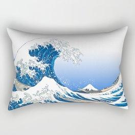 The White Version Of The Great Wave Off Kanagawa - Hokusai's (Edo, Japan) Rectangular Pillow