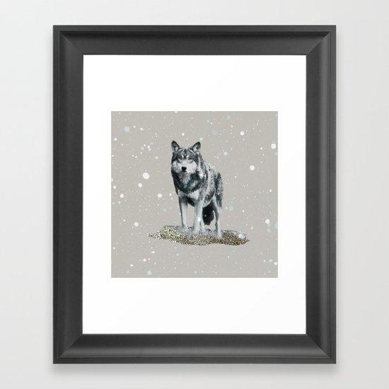 SNOW WOLF Framed Art Print