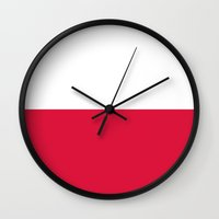 poland Wall Clocks featuring Flag of Poland by Neville Hawkins