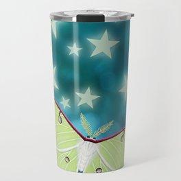 the moon, stars, luna moths, & dandelions Travel Mug