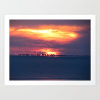 Orange Sunset on the beach Art Print