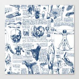 Da Vinci's Anatomy Sketchbook // Dark Blue Canvas Print