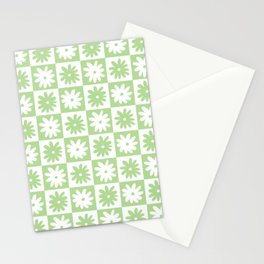 Green And White Checkered Flower Pattern Stationery Cards