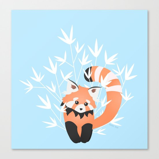 Baby Red Panda / Sky Canvas Print