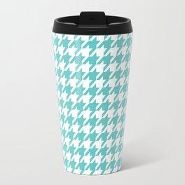 Turquoise Blue Houndstooth Pattern Design Travel Mug
