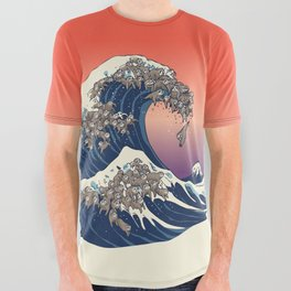 The Great Wave of Sloth All Over Graphic Tee