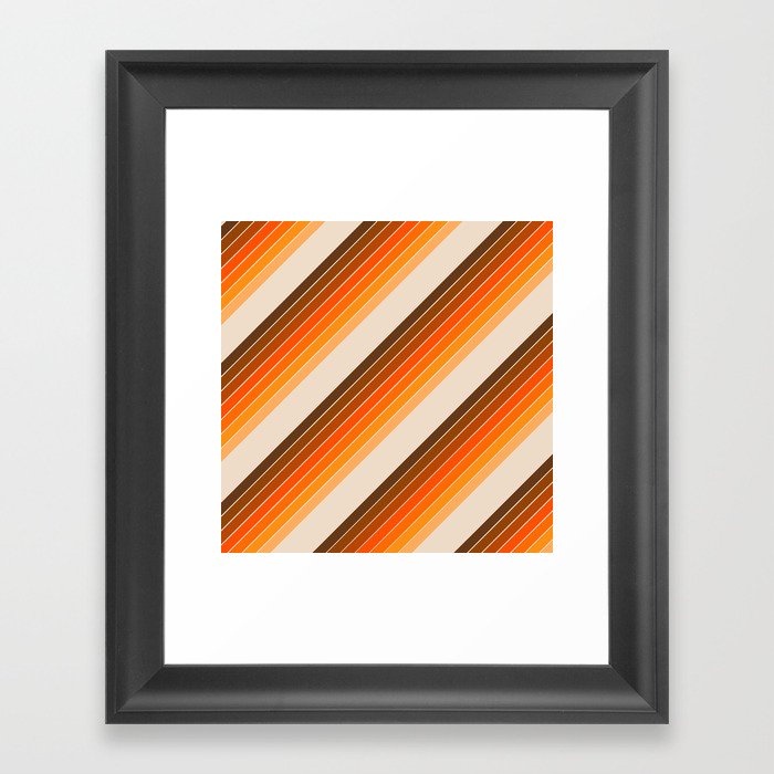 Tan Candy Stripe Gerahmter Kunstdruck